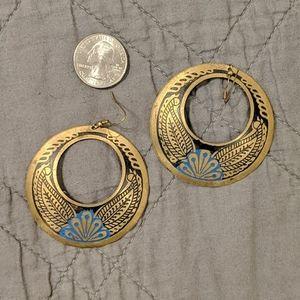 Boho Engraved Brass Dangle Earrings